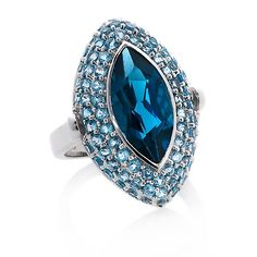 10K White Gold London& Swiss Blue Topaz Statement Ring #accesories #ring