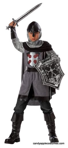 Child Size Dragon Slayer Knight Costume - Candy Apple Costumes - Knight Costumes....This brave knight can stand up against any beast! Child size knight costume includes Tunic With Screen Print, Cape, Hood, Belt, Gauntlets, and Boot Covers. Sword and shield sold separately. Great for school plays and projects!