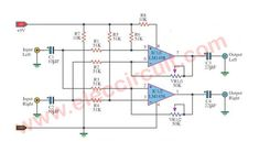 This Split stereo signal circuit are simple to use fining wideness of a signal stereo. that valuable very for an earphone stereo,or between loudspeaker. Electronic Circuit Design, Electronic Kits, Electronic Schematics, Surround Sound Speakers, Surround Sound Systems, Audio Amplifier, Circuit Diagram, Electronics Projects