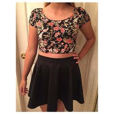Crop top Black crop top with red and green flower design. Not sure of the brand so under Brandy for views. New and in perfect condition. Accepting offers:) Brandy Melville Tops