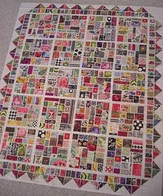 "Very interesting blog post about this ""Stamp Collection"" Block Tile Quilt -- based on the tile quilt technique in ""Tile Quilt Revival: Reinventing a Forgotten Form by Carol Gilham Jones & Bobbi Finley (2010) [NCS]"