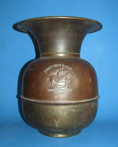 Vintage Brass Copper Spittoon Pony Express Chewing Tobacco Cut Plug