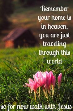 Remember, your home is in heaven, you are just traveling through this world ~ Walk with Jesus