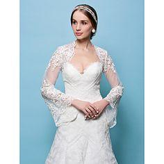 esküvői+pakolások+Boleros+csipke+fehér+/+bézs+bolero+vállrándítással+–+USD+$+34.99