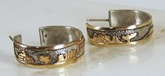 Gibson Gene Navajo NOS sterling silver and gold storyteller hoop earrings E499 Native American Earrings, Navajo, Storytelling, Antique Jewelry, Hoop Earrings, Group, Sterling Silver, Board, Vintage