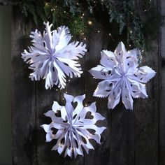 Make giant lighted snowflake pendants from paper bags or white paper in minutes! Beautiful for holidays and beyond. Free templates.