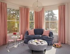 love this grey and pink room