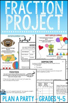 Fractions Project Based Learning for Grades 4-5- Fun Fraction Enrichment for adding and subtracting fractions, multiplying fractions, and more.