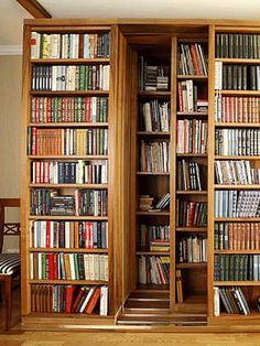 sliding-door-bookcase-wide-large-bookcase-design Source by Secret Door Bookshelf, Sliding Door Bookcase, Large Bookcase, Large Shelves, Library Shelves, Bookcase Shelves, Bookcases, Home Library Design, House Design