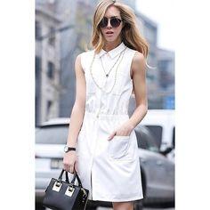 Yoins White Sleeveless Shirt Dress-White  S/M/L/XL ($23) ❤ liked on Polyvore featuring dresses, formal gowns, white, white sleeveless dress, white shirt dress, white formal dresses, sleeveless dress and long white shirt dress