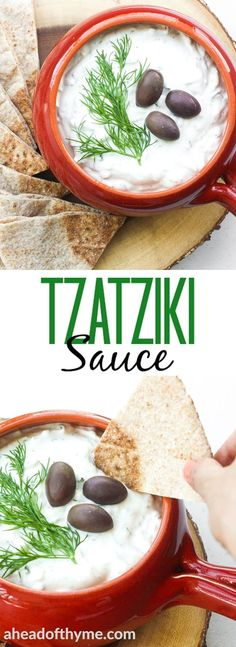 Looking for the perfect dip that goes with everything? Make classic, refreshing and cool tzatziki sauce in just a matter of minutes. | aheadofthyme.com via @aheadofthyme
