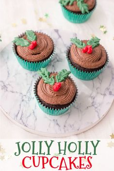 Who loves all the treats the holidays bring? Whip up these perfect Jolly Holly Cupcakes in a snap to serve to your family and friends with this easy recipe! #Cupcakes #Christmas Christmas Cupcakes, Christmas Desserts, Christmas Treats, Christmas Recipes, Diy Christmas, Holiday Recipes, Cupcake Recipes, Dessert Recipes, Top Recipes