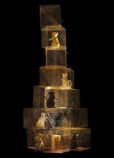 Perfect Lampe Seven Rats H cm Acier u or rats noirs u