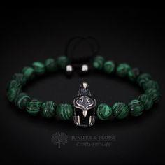 Christmas Gift, Elven Helmet Bracelet, Mens Bracelet, Elven Bracelet, Helmet charm , Mens Jewelry, Elven Warrior Helmet, Beaded Bracelet by JuniperandEloise on Etsy