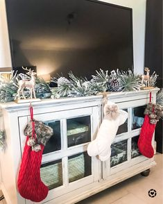 No mantle no problem! 😍 your TV stand can work as your stocking holder for the holidays! Tv Stand Christmas Decor, Gold Christmas Decorations, Christmas Night, Christmas Home, Christmas Mantles, Christmas Living Rooms, Christmas Villages, Silver Christmas, Victorian Christmas