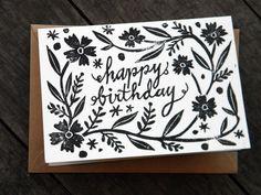 Happy Birthday Linocut Block Print Card