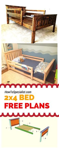 How to build a 2x4 bed frame - Easy to follow free plans, guides and ideas for your to build a farmhouse twin bed using just 2x4s! Plans at http://howtospecialist.com