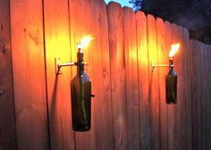 Recycled Wine Bottle Tiki Torches 1