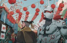 Overwatch Chinese Year Year of the Rooster, Nihon Genji and Hanzo