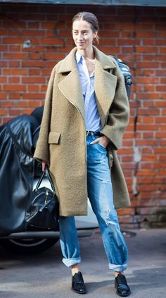 Camel coats always look expensive, especially worn with patent leather flats