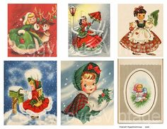 Christmas Girls 1 Digital Collage from by PeggyLovesVintage, $2.50