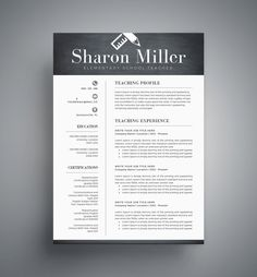 Self Employed Resume Excel Teacher Resume Template  Cover Letter  Professional Modern  Grant Writer Resume with Resume Templates Microsoft Word Teacher Resume Template  Cv Template For Word By Templatecraft Resume Objective Or Summary Excel