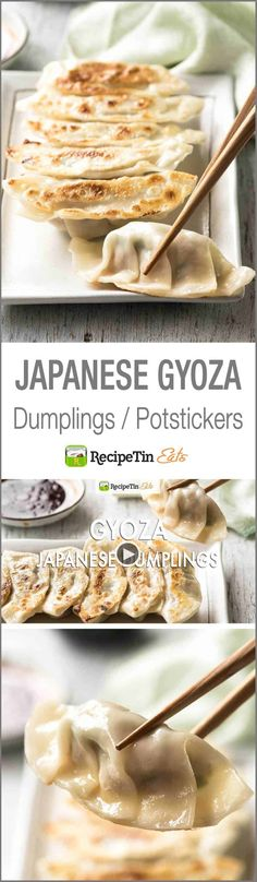 Gyoza (Japanese Dumplings) - A traditional Japanese recipe! Plus a VIDEO to learn how to wrap them! I ate these so much in japan! Japanese Gyoza, Japanese Dumplings, Japanese Dishes, Recipe For Gyoza, Recipetin Eats, Recipe Tin, Asian Cooking, Mets, Gnocchi