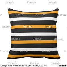 Orange Black White Halloween Stripes Throw Pillow