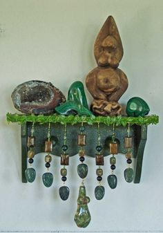 Gaia Green Earth Goddess crystal mini-shelf wall altar pagan wiccan