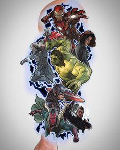 "773350f2048e Rob steele on Instagram  ""Rough Avengers sleeve up for grabs  marvel   avengers  thor  ironman  hulk  blackwidow  captainamerica  hawkeye  vision   comic ..."