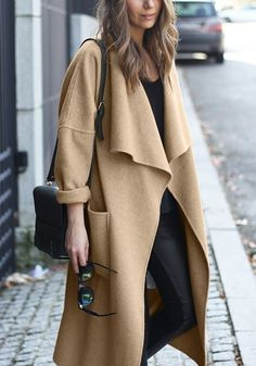 Camel Draped Open-Front Long Coat| @andwhatelse