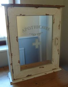 "Bathroom Cabinets Vintage Style antique style 18"" x 13"" x 5"" first aid cabinet distressed metal"