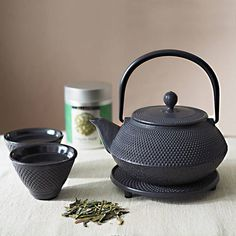 The Exotic Teapot Tetsubin Cast Iron Tea Set (865 ZAR) ❤ liked on Polyvore featuring home, kitchen & dining, teapots, loose tea pot, castiron teapot, cast iron tea pot, cast iron tea set and cast iron teapot