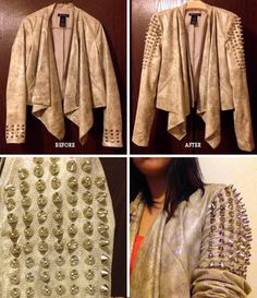 DIY studded sleeve jacket inspired by last year's Burberry studded trench