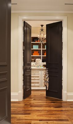best of all worlds- wood floor, dark doors, and white trim! LOVE dark doors but they're probably not realistic (since my doors are 6 panel and boring). Painted Interior Doors, Black Interior Doors, Painted Doors, Painted Closet, Interior Painting, Interior Trim, Interior Ideas, Black French Doors, Black Door