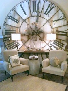 Enrich Your Room with an Oversize Clock Modern Farmhouse Living Room Decor, Living Room Decor Cozy, Farmhouse Decor, Interior Decorating, Interior Design, Clock Decor, Elegant Homes, Interior Exterior, Home Staging