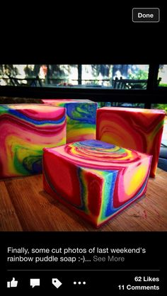 Rainbow puddle cold process soap