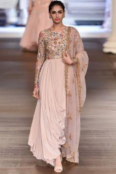 Buy Misty Rose Color Dhoti Dress by Akanksha Singh at Fresh Look Fashion Indian Wedding Outfits, Pakistani Outfits, Indian Outfits, Bridal Outfits, Indian Designer Outfits, Designer Dresses, Lehenga Choli, Sabyasachi, Anarkali