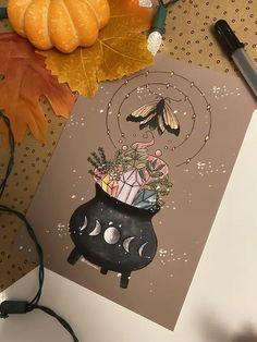 Art Sketches, Art Drawings, Rider Waite Tarot, Season Of The Witch, Witch Art, Autumn Art, Marker Art, Halloween Art, Hallows Eve