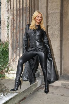 Lovely blonde wearing leather coat