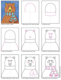 How to Draw a Bear Head · Art Projects for Kids Art Drawings For Kids, Drawing For Kids, Easy Drawings, Bear Head, Bear Face, Projects For Kids, Art Projects, Kids Crafts, Bear Drawing