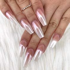 """4,115 Likes, 14 Comments - dailycharme (@daily_charme) on Instagram: """"Gorgeous white chrome nails by @_allured Create this look using our Magic White Chrome Powder ❤️…"""""""