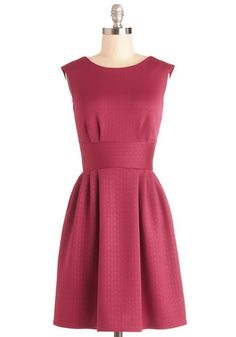 Boy Oh Boysenberry Dress - Knit, Mid-length, Solid, Pleats, Party, A-line, Sleeveless, Better, Pink, Exposed zipper