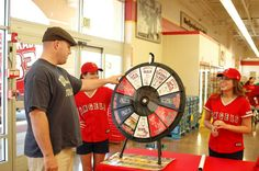 There was a wheel there for everyone to have the chance to win Angels memorabilia. I won tickets to an upcoming Angels game, which we'll be donating to Opa. (http://PrizeWheel.com/products/tabletop-prize-wheels/tabletop-black-clicker-prize-wheel-12-slot/)