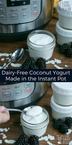 It's simple to make your own coconut dairy free yogurt in an Instant Pot. You only need two basic ingredients and a pressure cooker with a yogurt program. #AIP #paleo #keto | LowCarbYum.com via @lowcarbyum