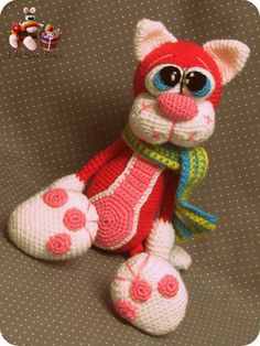 Crochet toy Amigurumi Pattern Cherry Cat por LilikSha en Etsy