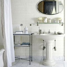 Pedestal Sink with Storage  Would love this sink and arrangement for my family bathroom.