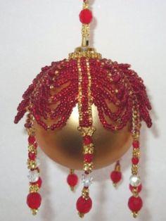 Beaded Draped Christmas Ornament Cover Pattern | BeadedBundles ...