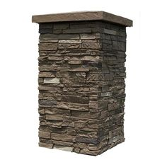 Stone Siding Panels, Faux Stone Siding, Porch Column Wraps, Faux Stone Veneer, Decorative Screen Panels, Outdoor Stone, Outdoor Areas, Stone Pillars, Porch Columns