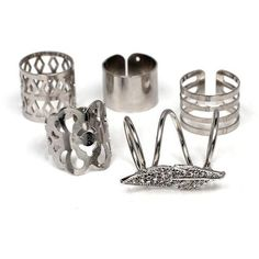 5 PCS Resizable Ring Set Gold or Silver ($13) ❤ liked on Polyvore featuring jewelry, rings, silver jewellery, geometric rings, silver gold jewelry, gold jewellery and geometric jewelry